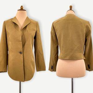 3.1 Phillip Lim silk blazer, tan brown silk high low one button blazer, size 2